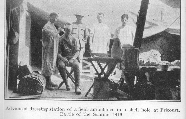 Advanced dressing station of a field ambulance in a shell hole at Fricourt. Battle of the Somme 1916.