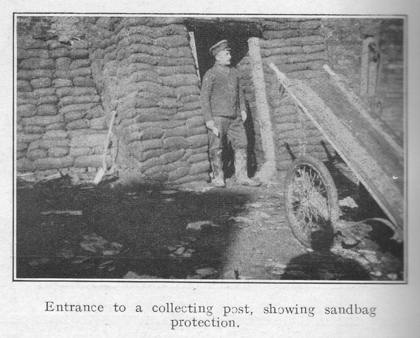 Entrance to a collecting post, showing sandbag protection.