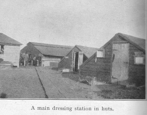 A main dressing station in huts.